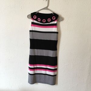 Joseph ribkoff pink black striped shift dress 4